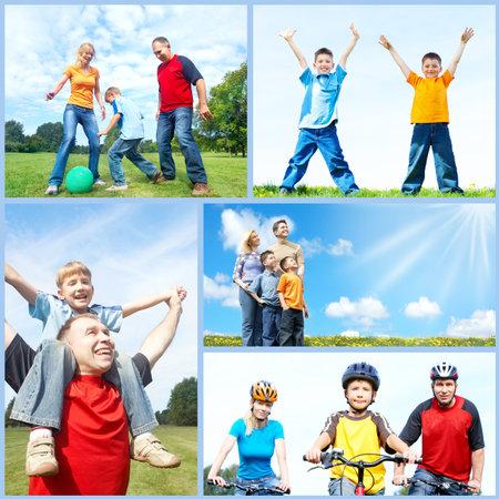Happy family collage. Foto de archivo