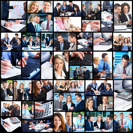 woman with document: Business people collage.