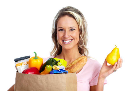 Woman with a grocery bag. photo