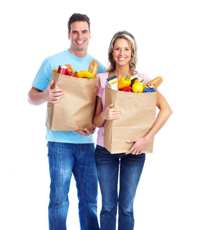Couple with a grocery bag. photo