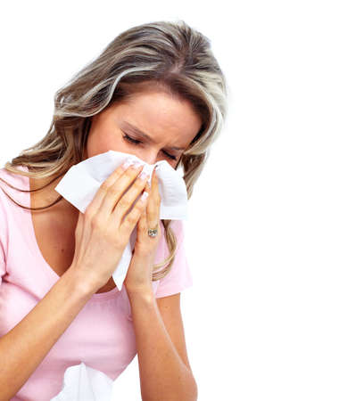 to sneeze: Mujer que tiene fr�o.