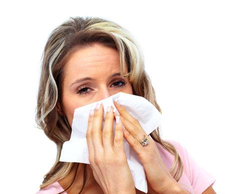 rheum: Woman having cold.