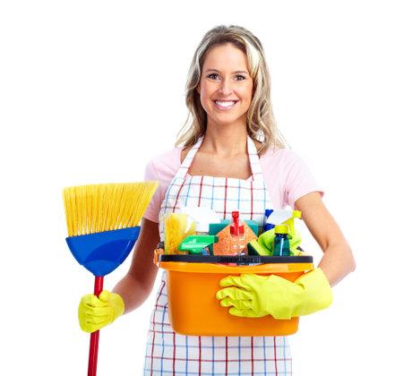 personal de limpieza: Joven sonriente mujer m�s limpia.