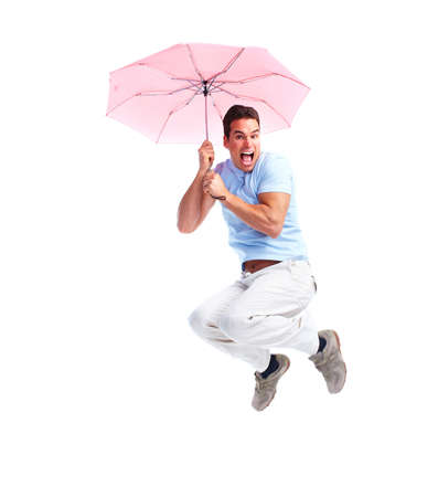 Flying happy man with umbrella. photo