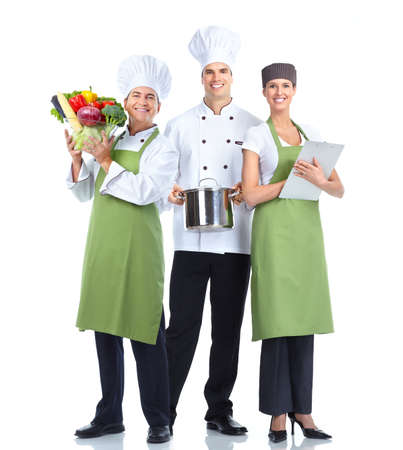 chef uniform: Chef baker group. Stock Photo