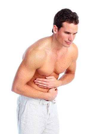 dolor de estomago: El hombre tiene dolor de est�mago.