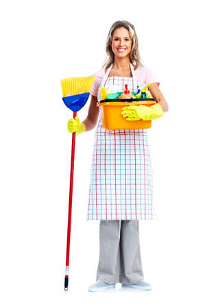 Domestic cleaning: Housewife cleaner woman.