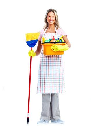 servicio domestico: Mujer ama de casa m�s limpia. Foto de archivo
