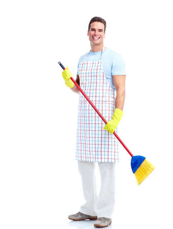 Housewife cleaner man. photo