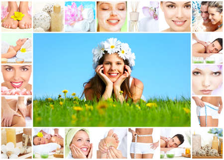 Spa massage collage. Stock Photo - 12379038