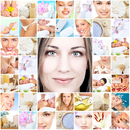 collage of faces: Spa massage collage.