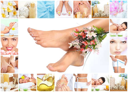 spa collage: Legs with flower. Stock Photo