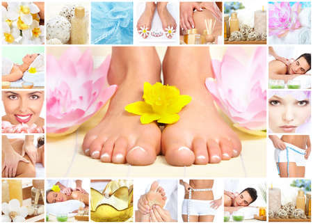 salon background: Legs with flower. Stock Photo