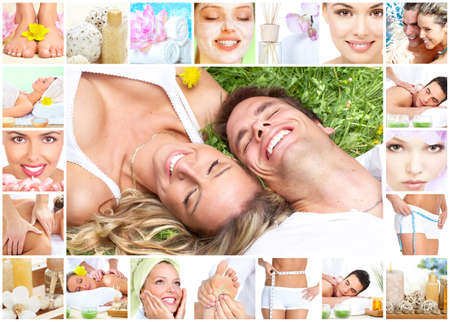 Spa massage collage. Stock Photo - 12379041