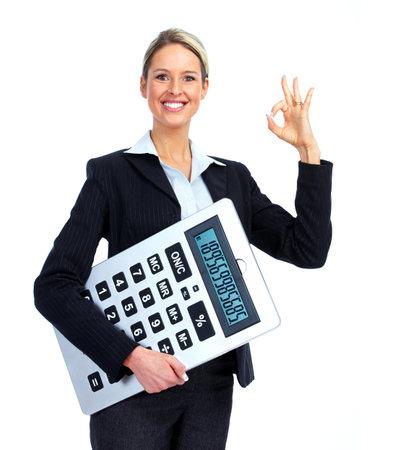 expert comptable: Femme d'affaires comptable. Banque d'images