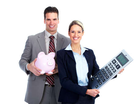 Business team with calculator and piggy bank.
