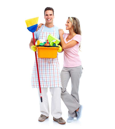 Young smiling cleaner couple. photo