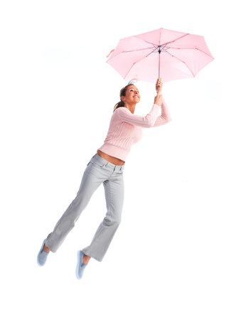 donna volante: Donna volare con l'ombrello. Archivio Fotografico