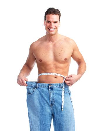 hombre flaco: La p�rdida de peso. Foto de archivo