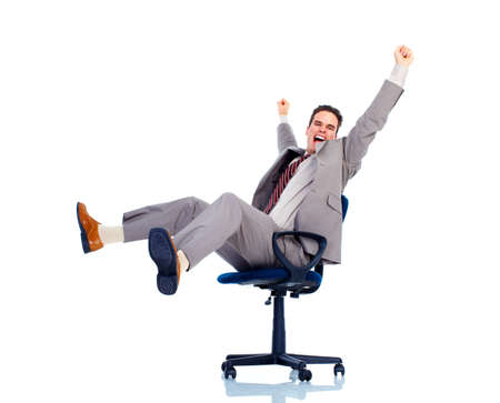 executive chair: Relaxing handsome businessman. Stock Photo