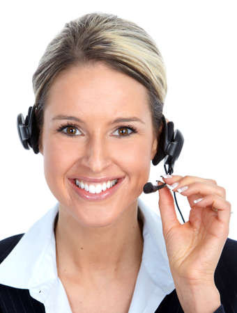 handsfree phone: Call center operator woman with headset. Stock Photo