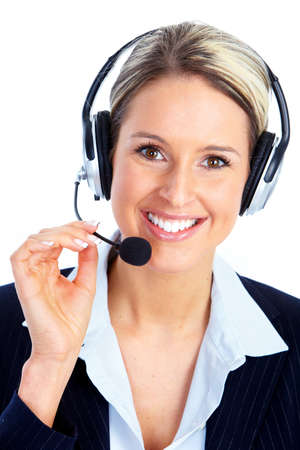 customer service representative: Call center operator woman with headset. Stock Photo