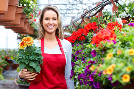 seller: Florists woman working at flower a shop. Stock Photo