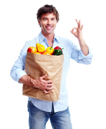 Man with a grocery bag.