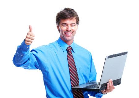 Executive businessman with laptop. photo