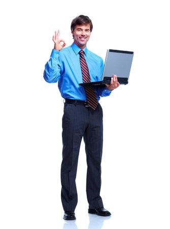 financial executive: Executive businessman with laptop. Stock Photo