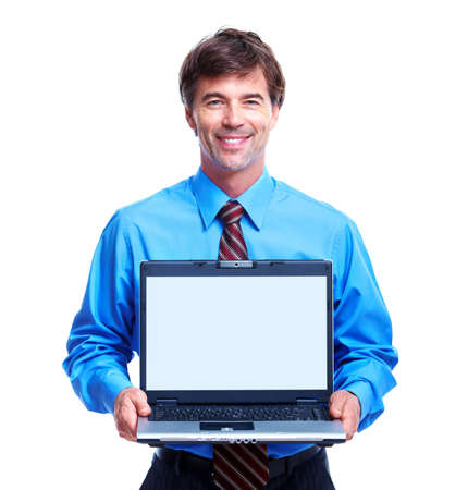 marketing online: Executive businessman with laptop. Stock Photo
