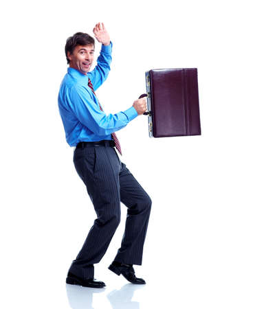 Happy businessman with case. Stock Photo - 12380291