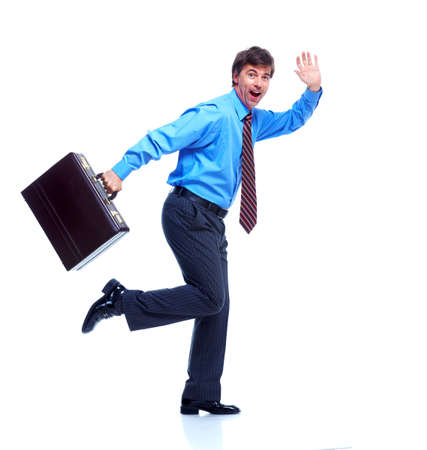 Happy businessman with case. photo