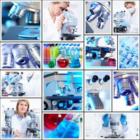 Scientific background collage. Stockfoto