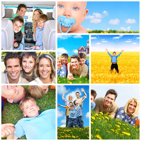 Happy family collage. Stock Photo - 12380494
