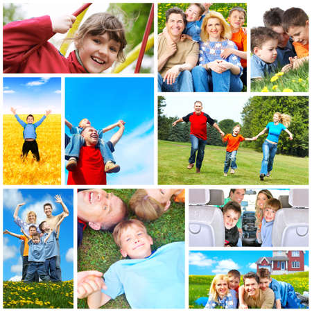 Happy family collage. photo