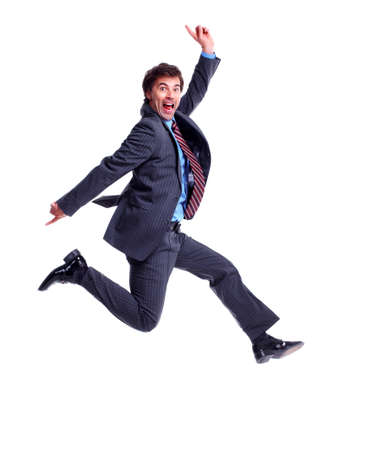 Happy jumping businessman  photo