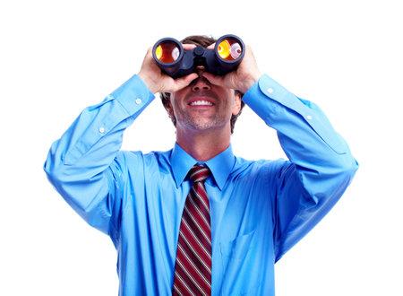 company vision: Executive businessman with a binocular