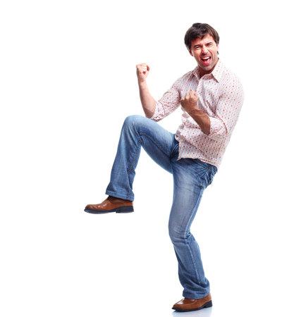 gente loca: Casual hombre feliz Foto de archivo