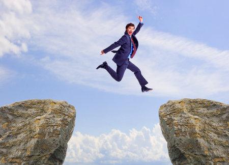 happy businessman: Happy jumping businessman