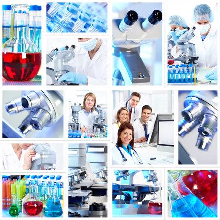 examenes de laboratorio: Collage de fondo de la Ciencia