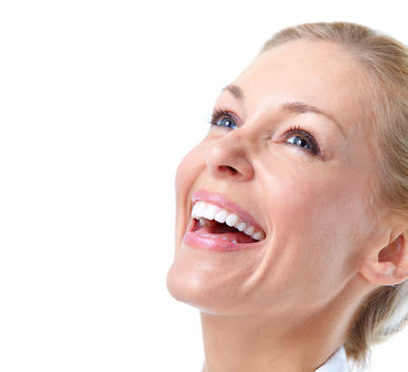 teeth whitening: Happy smiling woman  Stock Photo