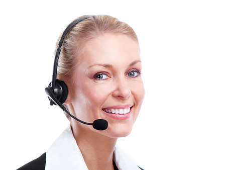 telephone headsets: Call center secretary woman