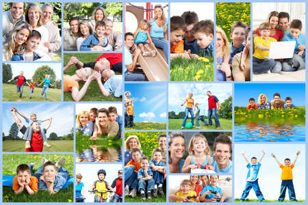 healthy life: Happy family collage
