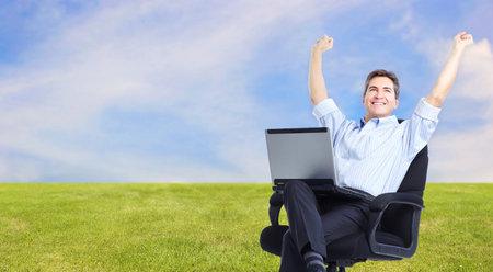 happy businessman: Happy relaxing businessman