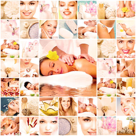 collage of faces: Spa massage sfondo collage Archivio Fotografico