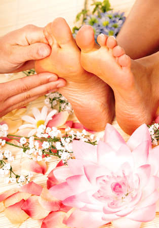holistic therapy: Foot massage  Stock Photo