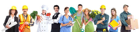 delivery service: Group of industrial workers people  Stock Photo