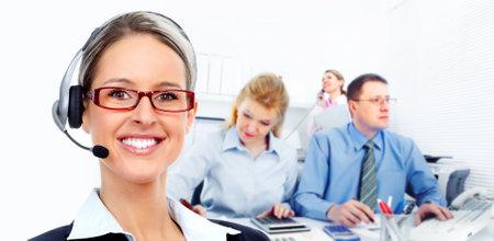 education technology: Call center secretary woman