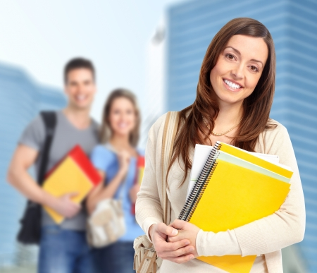 notebook: Young student woman  Stock Photo
